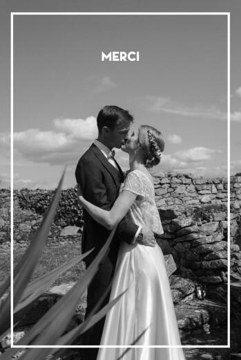 Carte de remerciement mariage Bahia beige