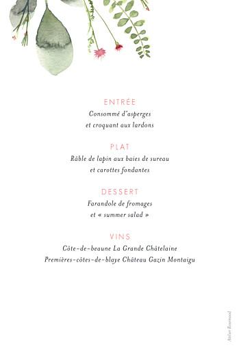 Menu de baptême Fleurs aquarelle crème - Page 2