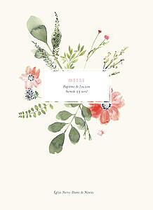Livret de messe mixte fleurs aquarelle crème