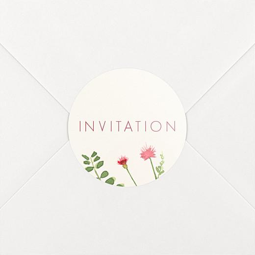 Stickers pour enveloppes baptême Fleurs aquarelle crème - Vue 2