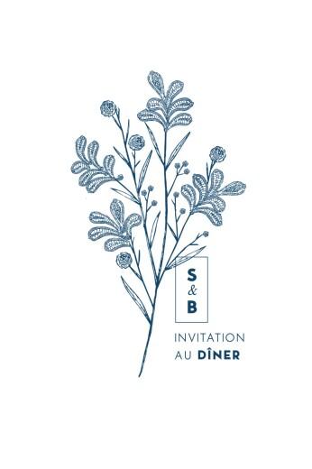 Carton d'invitation mariage Laure de sagazan bleu marine