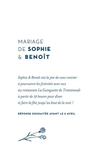 Carton d'invitation mariage Laure de sagazan bleu marine - Page 2