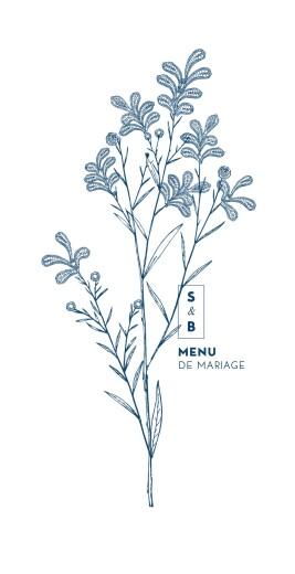Menu de mariage Laure de sagazan bleu