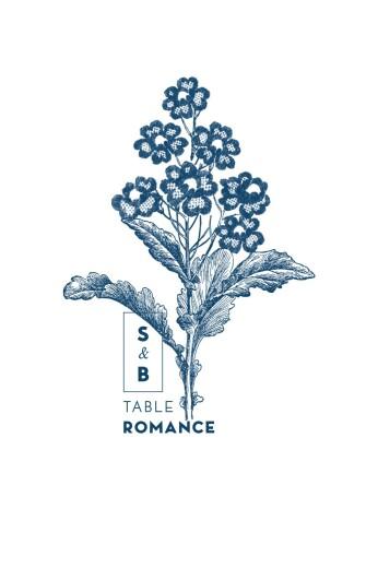 Marque-table mariage Laure de sagazan bleu