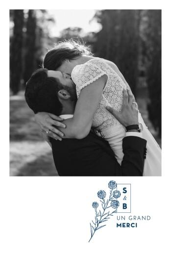 Carte de remerciement mariage Laure de sagazan bleu marine