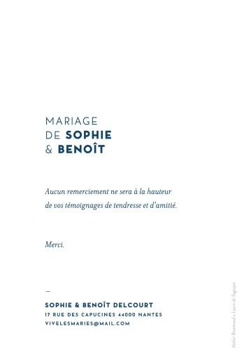 Carte de remerciement mariage Laure de sagazan bleu marine - Page 2