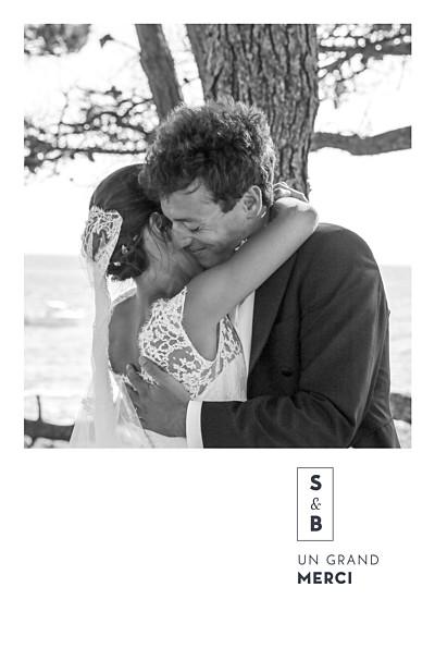 Carte de remerciement mariage Laure de sagazan (dorure) blanc finition