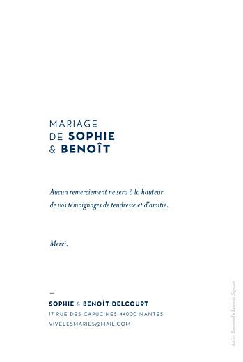 Carte de remerciement mariage Laure de sagazan (dorure) blanc - Page 2