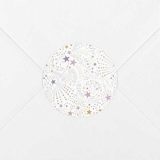 Stickers pour enveloppes baptême Liberty étoiles violet - Vue 2