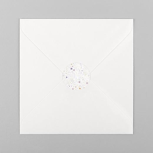 Stickers pour enveloppes baptême Liberty étoiles violet - Vue 1