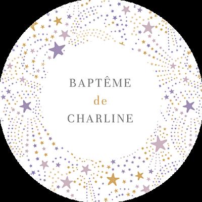 Stickers baptême Liberty étoiles violet finition