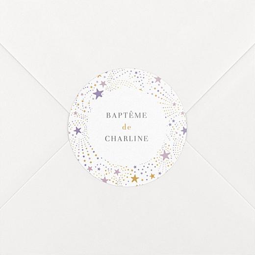 Stickers baptême Liberty étoiles violet - Vue 2