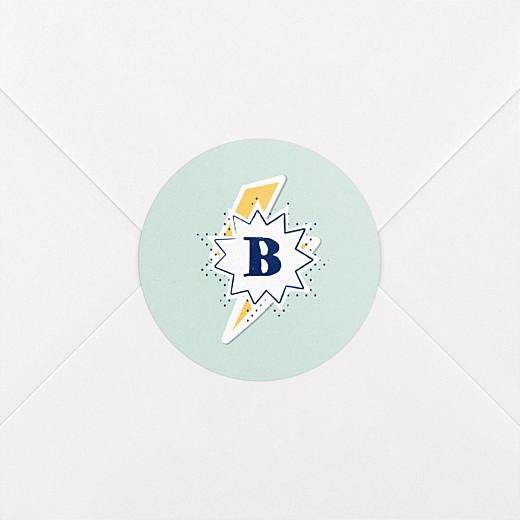 Stickers pour enveloppes naissance Super-héros éclair vert - Vue 2