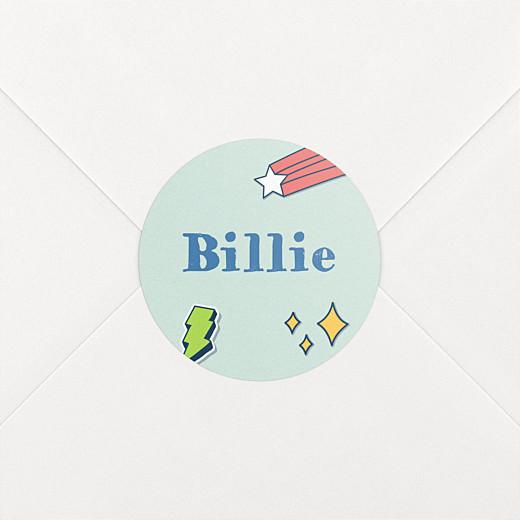 Stickers pour enveloppes naissance Super-héros vert - Vue 2
