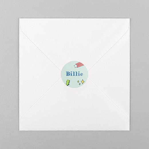 Stickers pour enveloppes naissance Super-héros vert - Vue 1