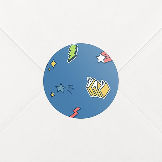 Stickers pour enveloppes naissance Super-héros bleu - Vue 2