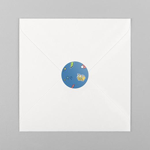 Stickers pour enveloppes naissance Super-héros bleu - Vue 1