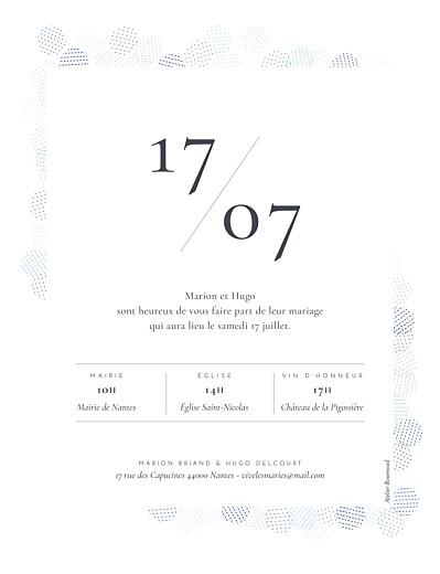 Faire-part de mariage Sequins portrait bleu - Page 2