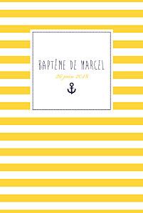 Menu de baptême jaune matelot jaune