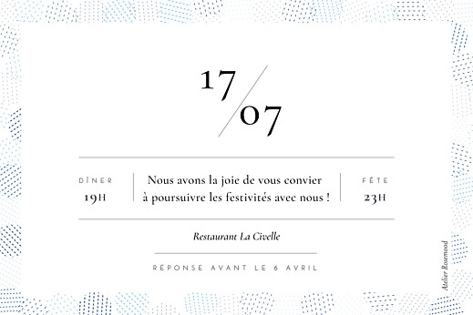Carton d'invitation mariage Sequins bleu - Page 2