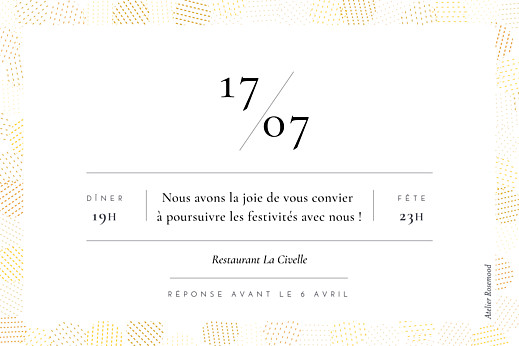 Carton d'invitation mariage Sequins jaune - Page 2