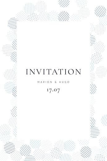 Carton d'invitation mariage Sequins (portrait) bleu