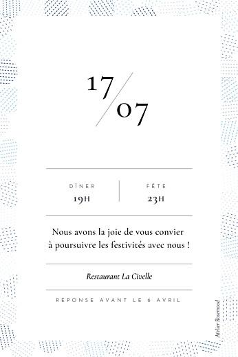 Carton d'invitation mariage Sequins (portrait) bleu - Page 2