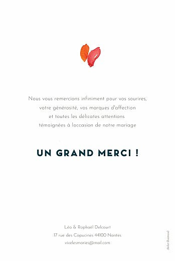 Carte de remerciement mariage Bloom beige - Page 2