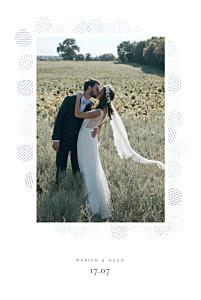 Carte de remerciement mariage classique sequins bleu