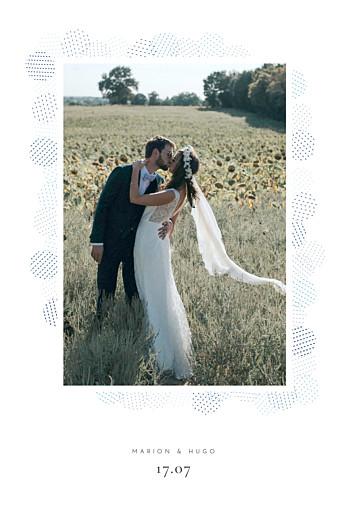 Carte de remerciement mariage Sequins bleu