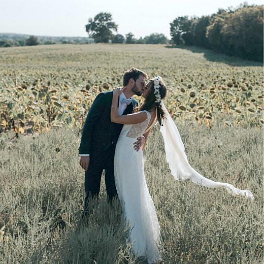 Carte de remerciement mariage Sequins (4 pages) bleu