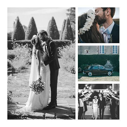 Carte de remerciement mariage Sequins (4 pages) bleu - Page 2