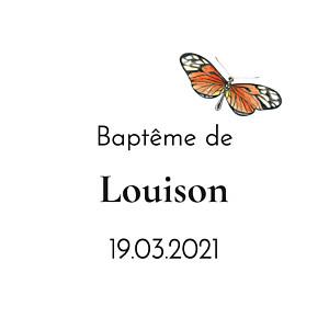 Etiquette de baptême mélopée blanc