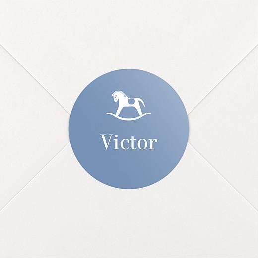 Stickers pour enveloppes naissance Petit cheval bleu - Vue 2