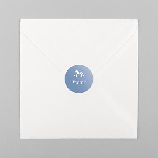 Stickers pour enveloppes naissance Petit cheval bleu - Vue 1