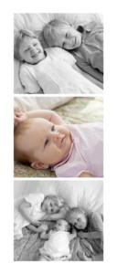 Faire-part de naissance 3 photos portrait (panoramique)