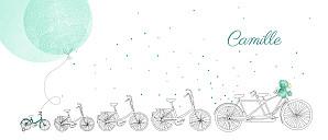 Faire-part de naissance jouets à bicyclette (4 enfants) vert