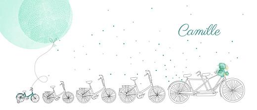 Faire-part de naissance À bicyclette (4 enfants) vert