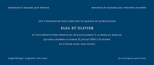 Faire-part de mariage Chic panoramique bleu roi
