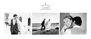Carte de remerciement mariage bleu marinière 3 photos bleu marine & pompon rouge