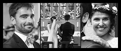 Carte de remerciement mariage 3 photos (panoramique) noir finition
