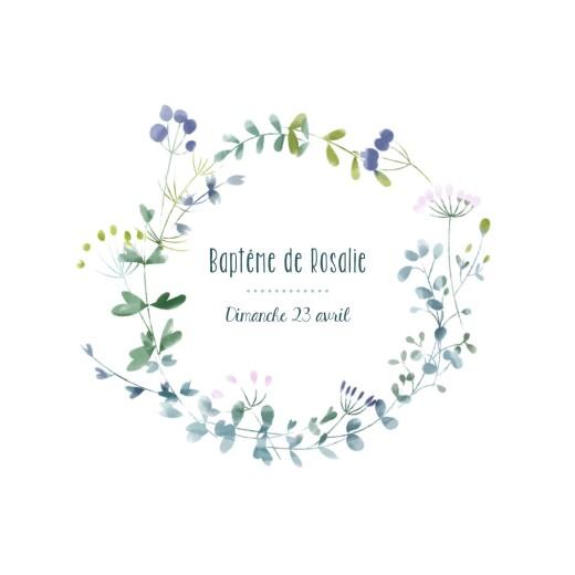 Faire-part de baptême Bouquet sauvage bleu