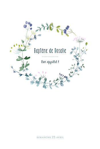 Menu de baptême Bouquet sauvage bleu