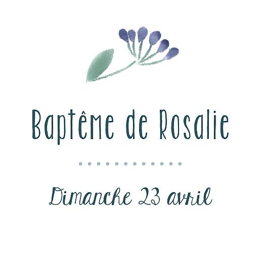 Etiquette perforée baptême Bouquet sauvage bleu