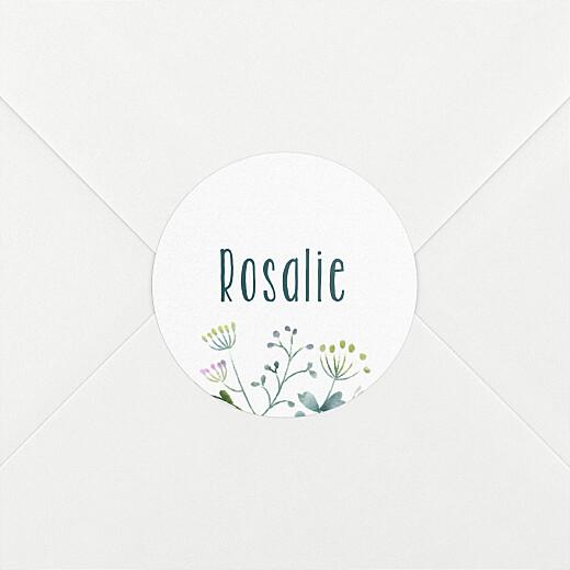 Stickers pour enveloppes baptême Bouquet sauvage bleu - Vue 2