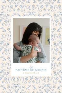 Faire-part de baptême L'envolée beige