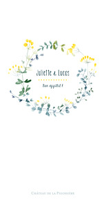 Menu de mariage blanc bouquet sauvage jaune