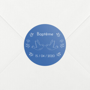 Stickers pour enveloppes baptême L'envolée bleu