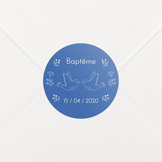 Stickers pour enveloppes baptême L'envolée bleu - Vue 2