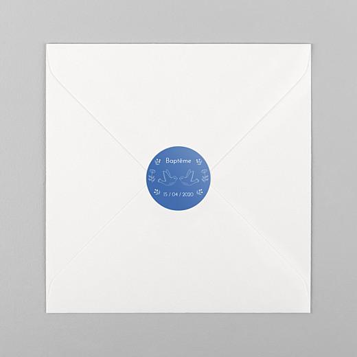 Stickers pour enveloppes baptême L'envolée bleu - Vue 1